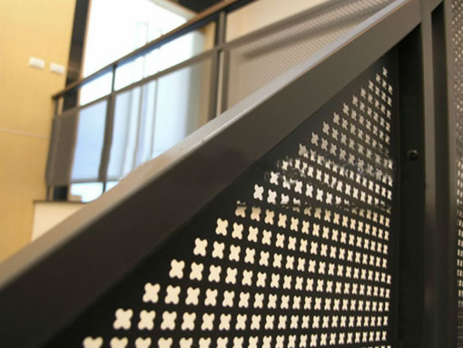 Perforated Architectural Wire Mesh Used as Stair Fencing